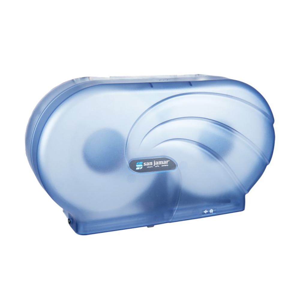 "San Jamar R4090TBL Twin 9"" Jumbo Toilet Tissue Dispenser, Oceans, Translucent Arctic Blue"