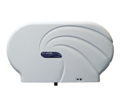 San Jamar R4090WS Twin 9 in Jumbo Toilet Tissue Dispenser, Oceans, White Sand