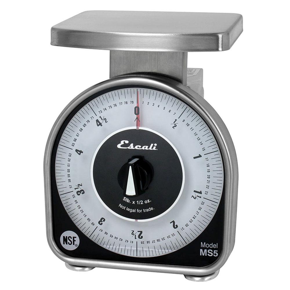"San Jamar SCMDL5 Escali 5-lb Mechanical Dial Scale - 4.63"" x 6"", Stainless Steel"