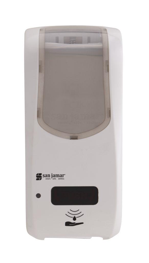 "San Jamar SHF970WHCL Wall-Mount Touch-Free Foam Soap Dispenser - 5.75"" x 12.25"", White/Clear"