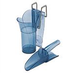 San Jamar SI5000EUR 10-oz Round Ice Scoop w/ Holder - Polycarbonate, Blue