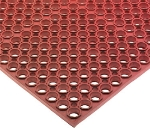 San Jamar KM1200 Rubber Bar Mat, Anti-Slip, Grease Proof, 36 x 60-in, Bagged, Red