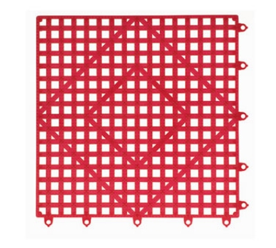 San Jamar VM5280RD-12 Interlocking Bar Mat Tile Shelf Liner, Rubber, Grease Resistant, 12-in Sq, Red