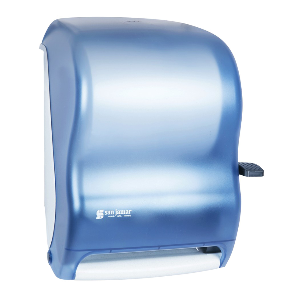 "San Jamar T1100TBL Classic Paper Towel Dispenser, Wall Mount, 8 x 8"" Roll, Lever Action, Blue"