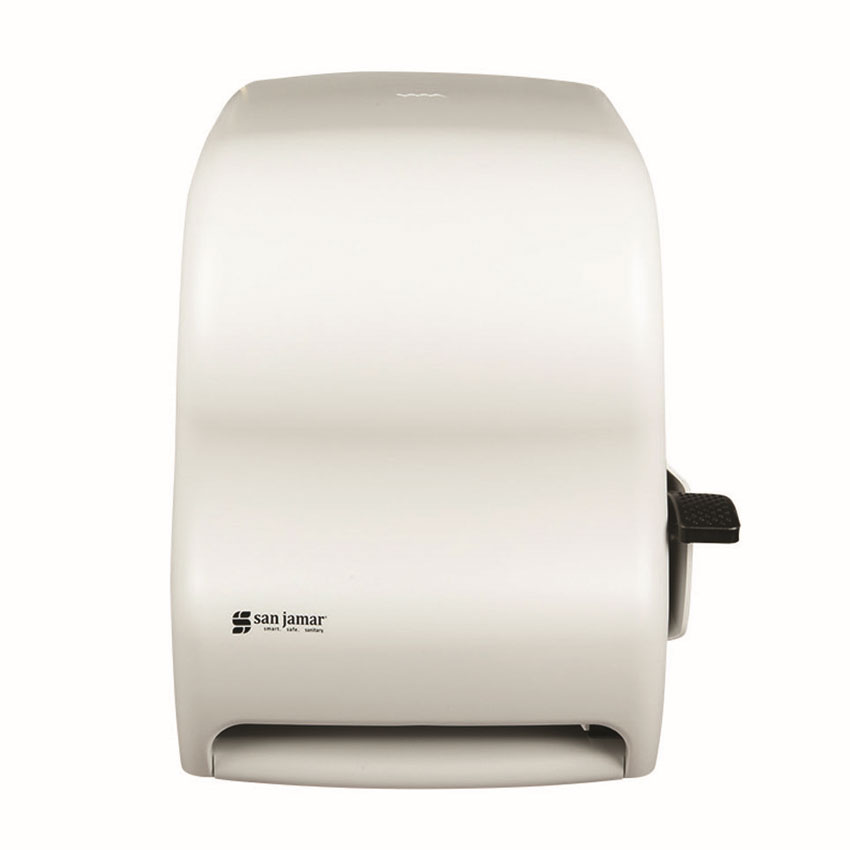 "San Jamar T1100WH Classic Paper Towel Dispenser, Wall Mount, 8 x 8"" Roll, Lever Action, White"