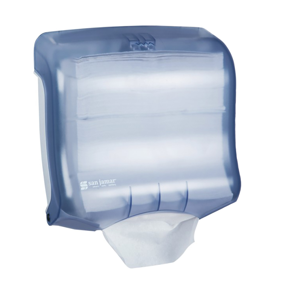 San Jamar T1750TBL Oceans Kolor-CutT Towel Dispenser, Mini Ultrafold, Translucent Arctic Blue