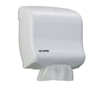San Jamar T1750WH Oceans Kolor-CutT Towel Dispenser, Mini Ultrafold, White Sand