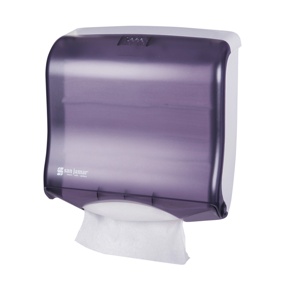 San Jamar T1755TBK Ultrafold Fusion Wall Towel Dispenser - (240) C-Fold or (400) Multifold, Black Pearl