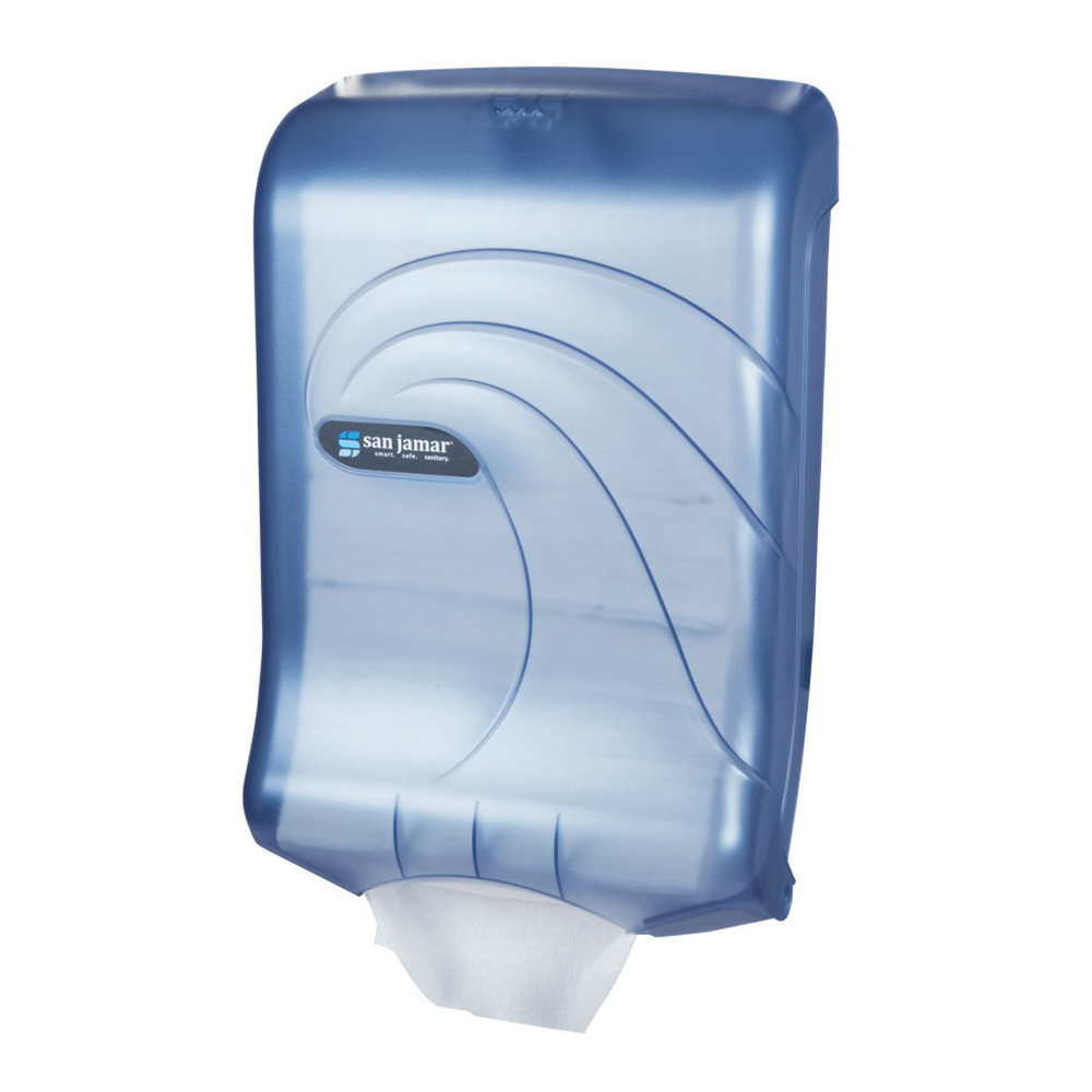 San Jamar T1790TBL Oceans Ultrafold Wall Paper Towel Dispenser - C-Fold or Multifold, Arctic Blue