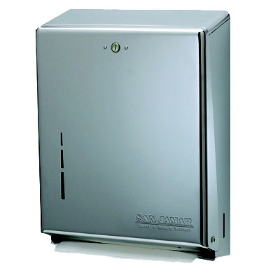 San Jamar T1900SS Multifold Towel Dispenser, Large Cap, Metal Front/Back, Key Lock, Stainless