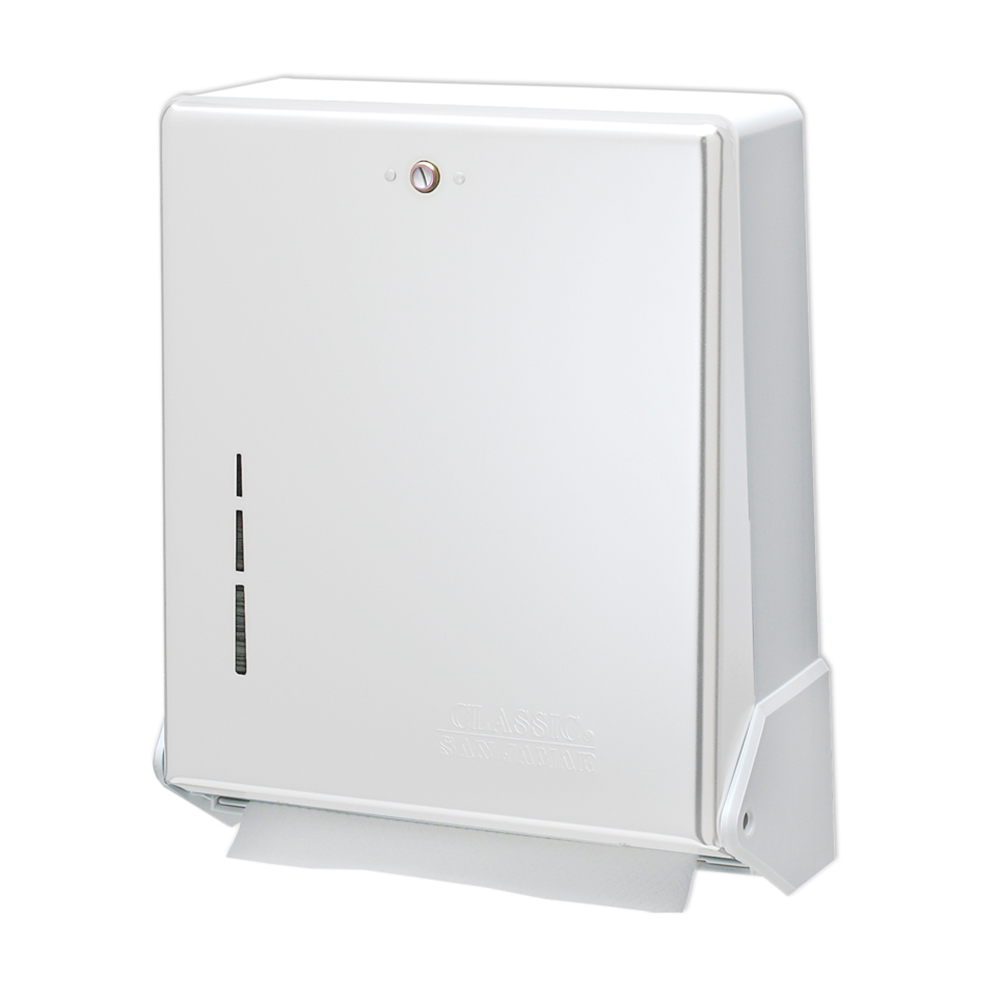 San Jamar T1905WH Multifold Towel Dispenser, Large Cap, Metal Front Plastic Back, White