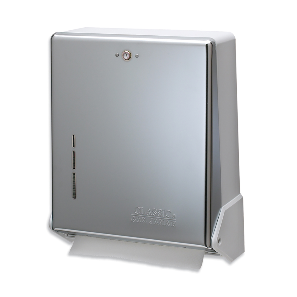 San Jamar T1905XC Multifold Towel Dispenser, Large Cap, Metal Front Plastic Back, Matte Chrome