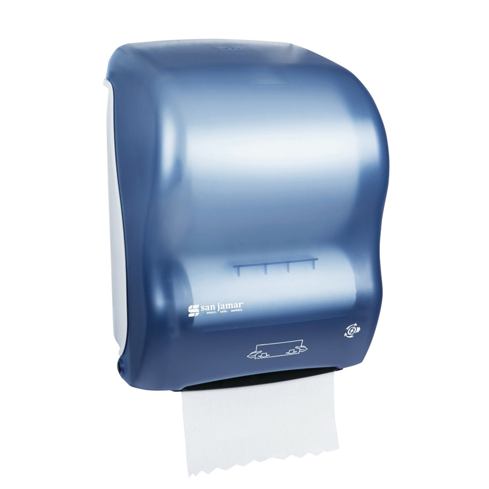 San Jamar T7000TBL Simplicity Hands Free Paper Towel Dispenser, 8 x 8 in Roll, Arctic Blue