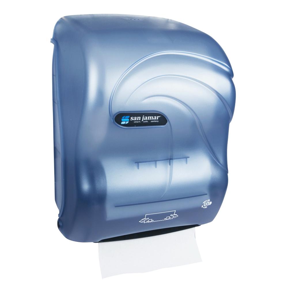San Jamar T7090TBL Hands Free Roll Towel Dispenser w/ Auto Mechanical Cutting, Plastic, Oceans, Blue