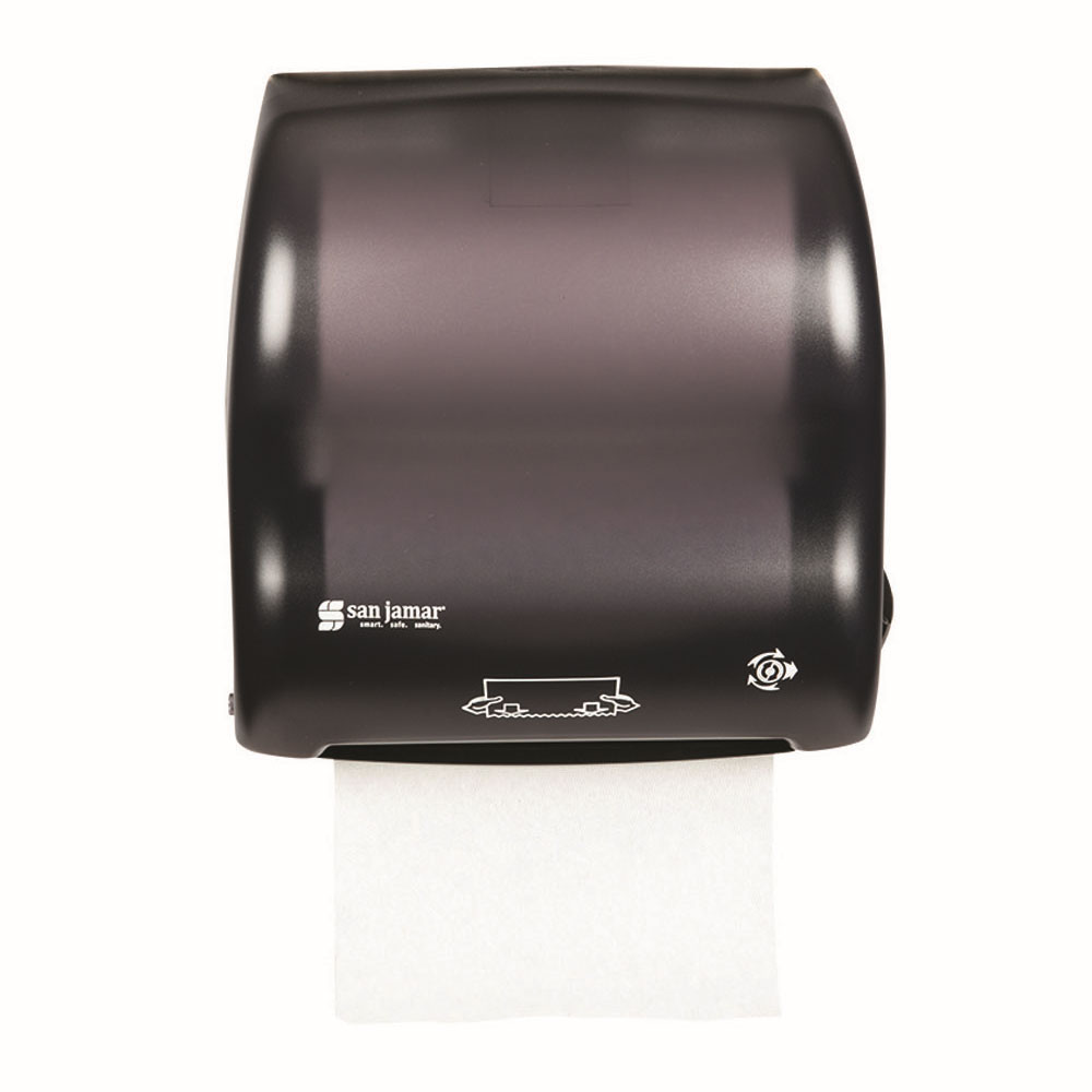 San Jamar T7500TBK Compact Hands Free Roll Towel Dispenser w/ Auto Mechanical Cutting, Classic, Black