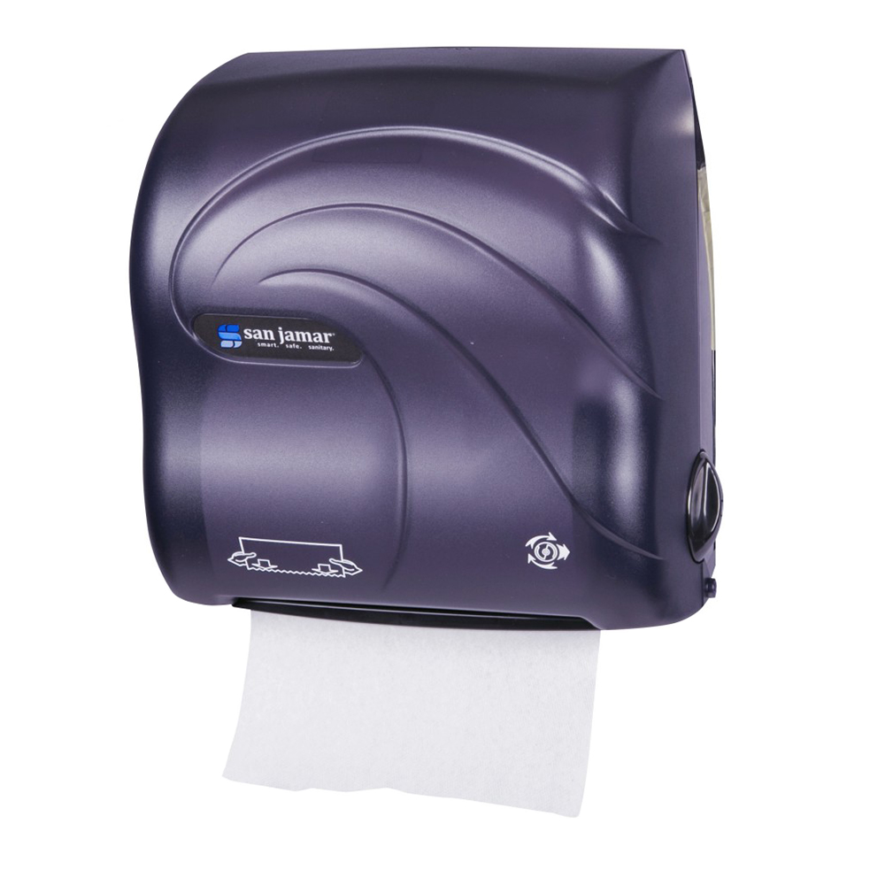 San Jamar T7590TBK Simplicity Hands Free Oceans Wall Towel Dispenser - Wide Roll, Black Pearl
