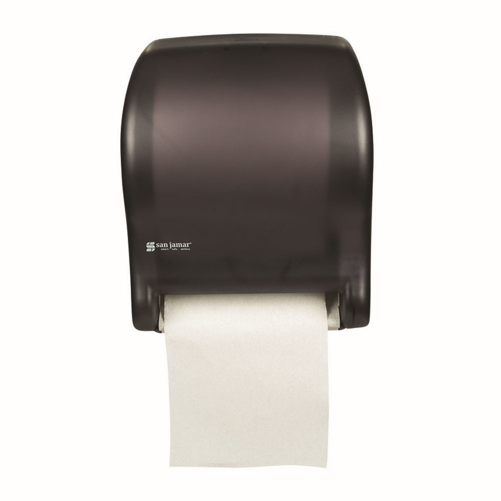 San Jamar T8000TBK Tear-N-Dry Essence Wall Towel Dispenser - Touchless, Wide Roll, Black Pearl