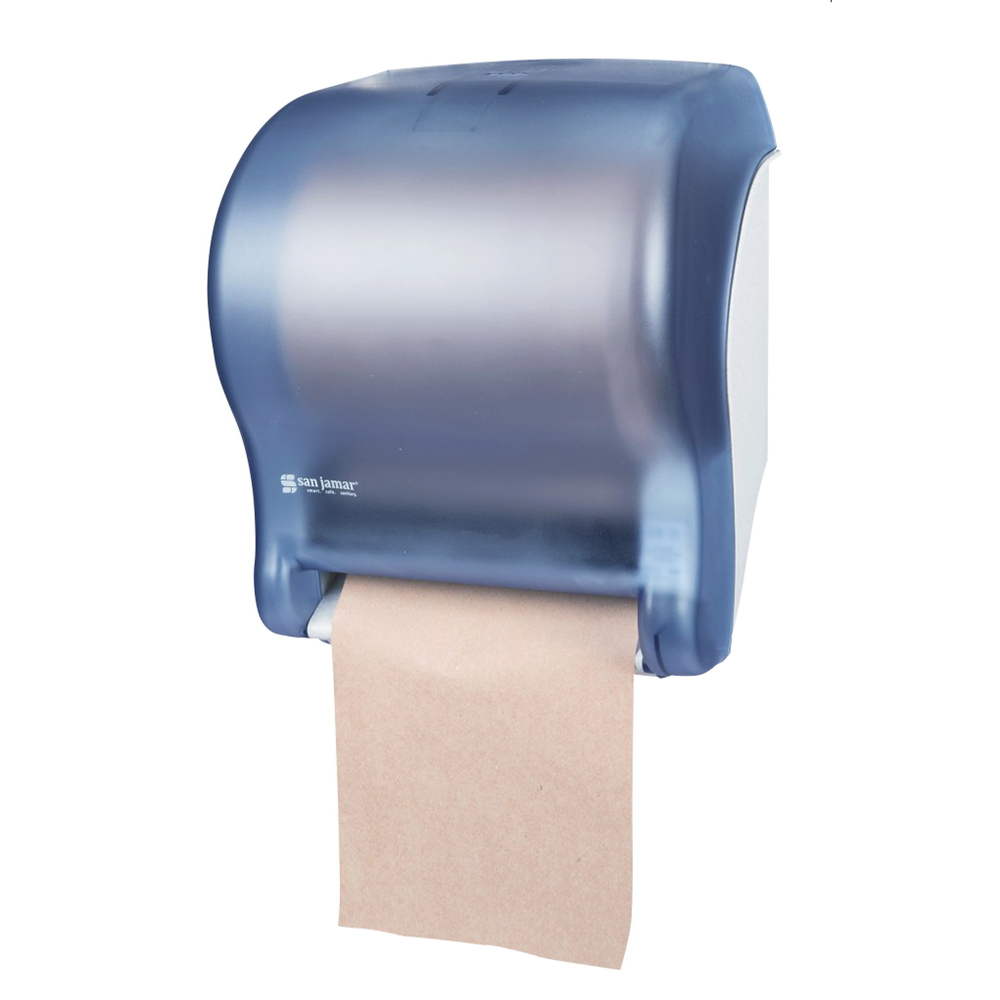 San Jamar T8000TBL Tear-N-Dry Essence Wall Towel Dispenser - Touchless, Wide Roll, Arctic Blue