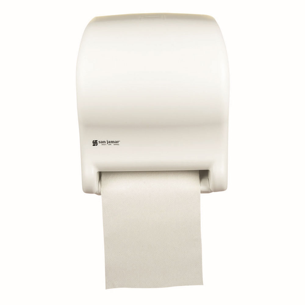 San Jamar T8000WH Touchless Towel Dispenser, Wall Mount, 8 x 8-in Roll, White Sand