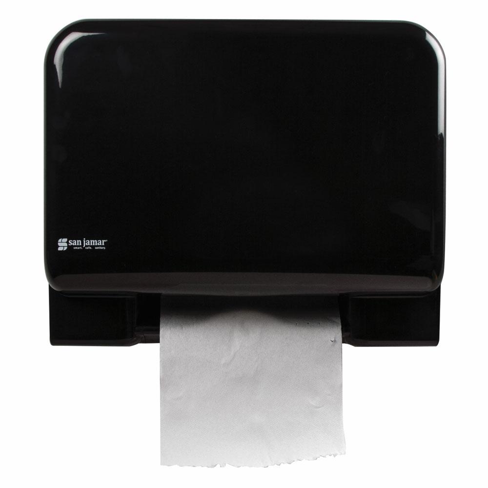 San Jamar T8008BKUNV Recessed Tear-n-Dry Paper Towel Dispenser - Touchless, Black