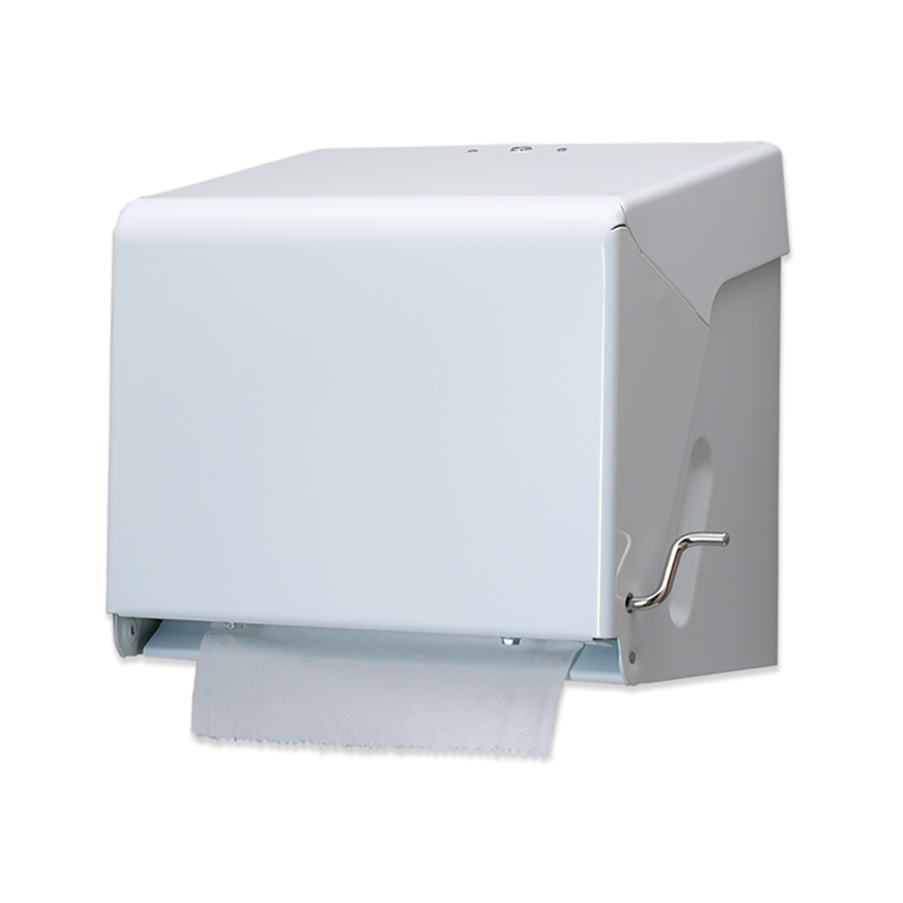 San Jamar T800WH Classic Wall Towel Dispenser - Crank Handle, Wide Roll, White Sand