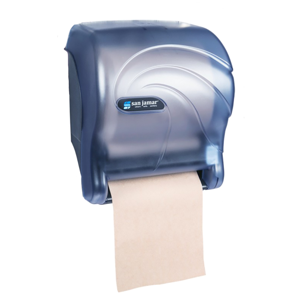 San Jamar T8090TBL Tear-N-Dry Essence Oceans Wall Towel Dispenser - Touchless, Wide Roll, Arctic Blue