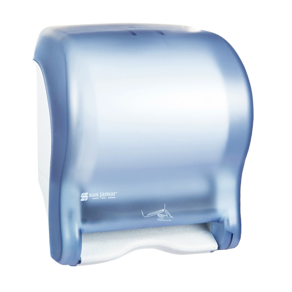 San Jamar T8400TBL Smart Essence Classic Wall Towel Dispenser - Touchless, Wide Roll, Arctic Blue