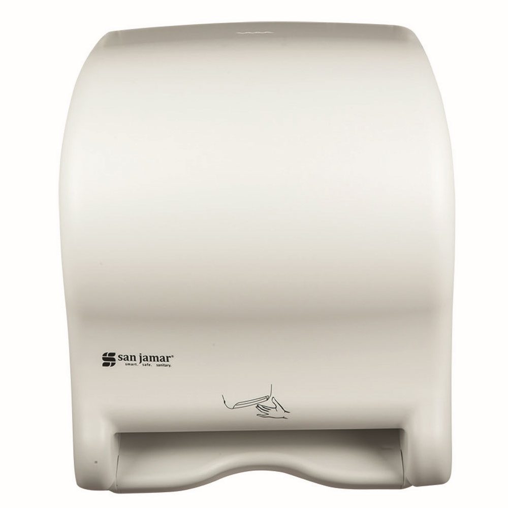 San Jamar T8400WH Smart Essence Classic Wall Towel Dispenser - Touchless, Wide Roll, White