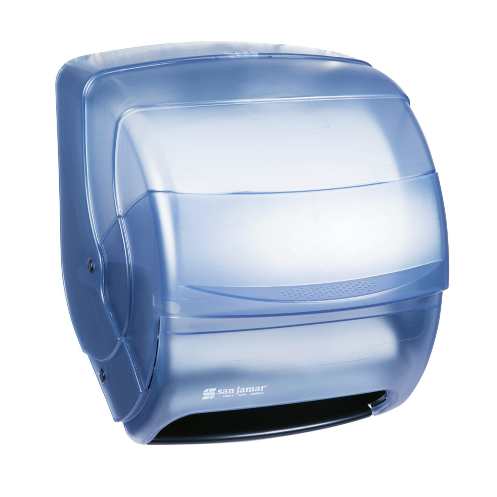San Jamar T850TBL Integra Kolor-Cut Lever Roll Towel Dispenser, 8.5 Diameter Roll, Arctic Blue