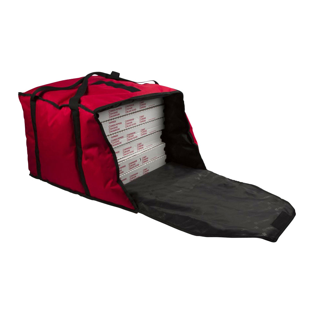 "San Jamar PB20-12 Pizza Delivery Bag, 20 x 18 x 12"", Holds Up To 6 Pizzas, Red"
