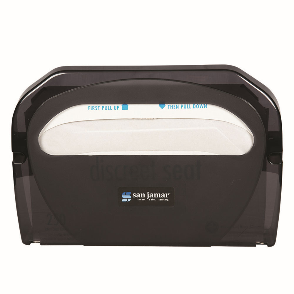 San Jamar TS510TBK Hygienic Toilet Seat Cover Dispensers w/ One At A Time Dispensing, Black Pearl