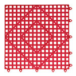 "San Jamar VM5280RD-12 Interlocking Bar Mat Tile Shelf Liner, Rubber, Grease Resistant, 12"" Sq, Red"