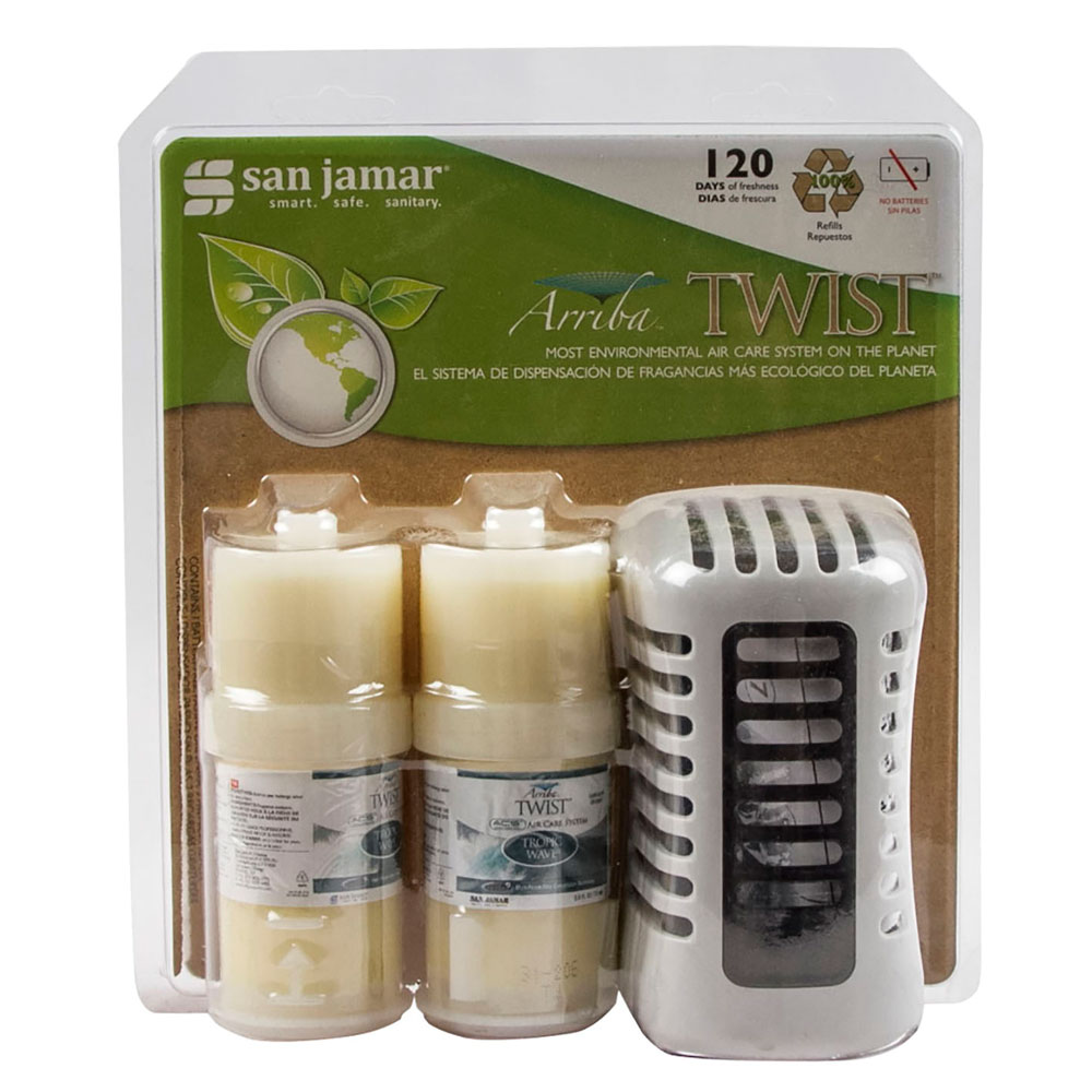 San Jamar WP1202TW Arriba Twist Retail Case Pack w/ Passive Dispenser & 2-Fragrances, Tropic Wave
