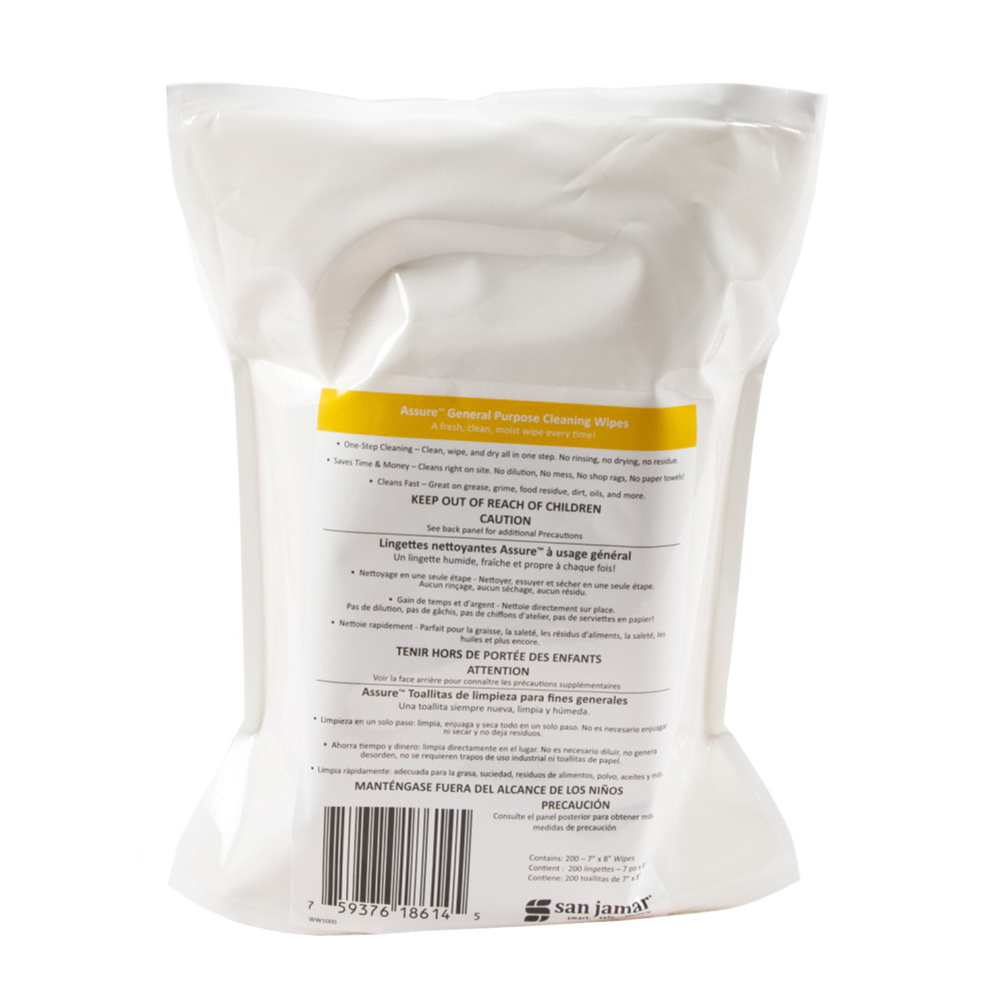 San Jamar WW1000 Wet Wipes for General Purpose Cleaning - Use with WD1005