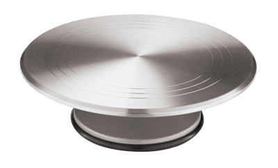 World Cuisine 47101-30 Revolving Cake Display, 11-7/8 x 4-in, Round, Aluminum