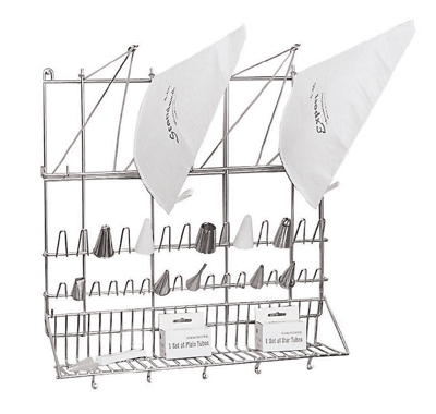 World Cuisine 47113-03 Wall Mount Pastry Bag & Tip Dryer, 19-5/8 x 19-5/8-in, Stainless