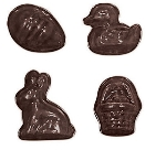 World Cuisine 47865-24 Assorted Easter Chocolate Mold, 1-3/8 x 1-3/8 x 9/32-in, Poly