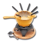 World Cuisine A1712015 1.5-qt Fondue Set w/ 6-Forks, Enameled Cast Iron, Blue