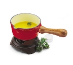 World Cuisine A1713014 Butter Warmer, .5-qt, Red Enameled Cast Iron Pan w/ Wood Handle