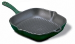 "World Cuisine A1731024 9.5"" Square Grill w/ Handle, Grooved, Enameled Cast Iron, Blue"