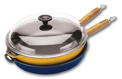 World Cuisine A1731028 11-in Fry Pan w/ Glass Lid & Wood Handle, Enameled Cast Iron, Blue