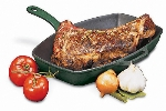 World Cuisine A1731032 12.5-in Rectangular Grill w/ Handle, Grooved, Enameled Cast Iron, Blue