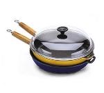 World Cuisine A1733030 Enameled Cast Iron Fry Pan w/ Wood Hand