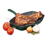 "World Cuisine A1733032 12.5"" Enameled Cast Iron Grill w/ Handle, Rectangular, Grooved, Red"