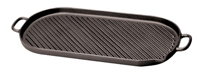 World Cuisine A1733746 Enameled Cast Iron Grill w/ Dual Handles, 18-3/8 x 9-in, Oval, Grooved