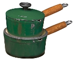 World Cuisine A1734116 Enameled Cast Iron Casserole Pot w/ Wood Handle, 1-qt, Blue