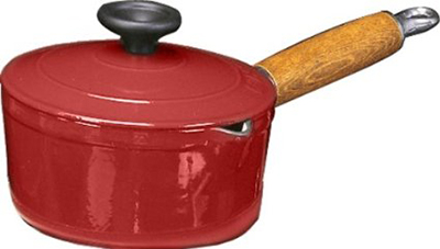 World Cuisine A1734318 Enameled Cast Iron Casserole Pot w/ Wood Handle, 2-qt, Red