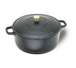 World Cuisine A1737018 Enameled Cast Iron Dutch Oven w/ Lid & Bronze Knob, 2-qt, Black