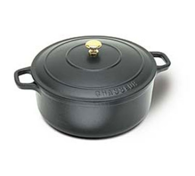 World Cuisine A1737024 Enameled Cast Iron Dutch Oven w/ Lid & Bronze Knob, 4-qt, Black