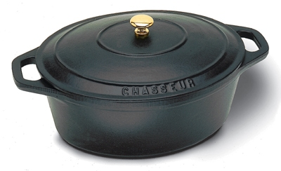 World Cuisine A1737027 3.5-qt Dutch Oven w/ Lid & Bronze Knob, Enameled Cast Iron, Black